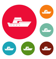 ship transport icons circle set vector image