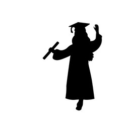 Silhouette girl graduation finished studying vector