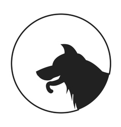 Silhouette of a dog head german shepherd vector