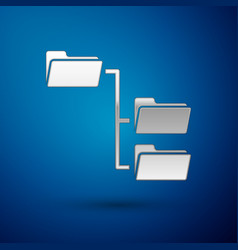 Silver folder tree icon isolated on blue vector
