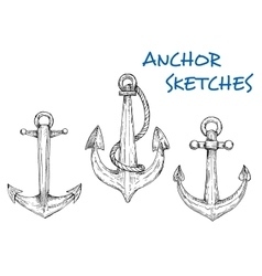sketch vintage nautical anchors with rope vector image