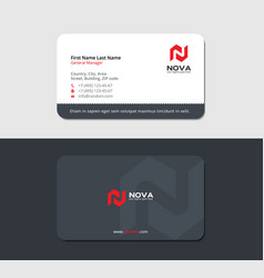 Sleek grayish business card with red letter n vector