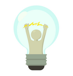 Smart light bulb icon cartoon style vector