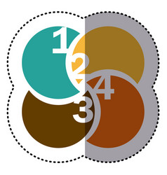 sticker colorful circular figures with numeration vector image