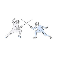 Two fencing athletes colorful drawing vector