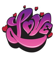 Ultra violet sign the word love with heart vector