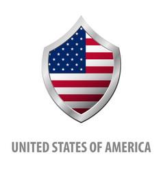 United states of america usa flag on metal shiny vector