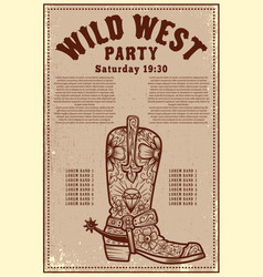 wild west party poster template with cowboy boot vector image