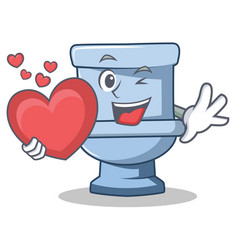 with heart toilet character cartoon style vector image