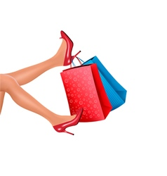Woman in red high heels holding red shopping bags vector image