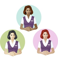 Woman in service uniform support expert vector