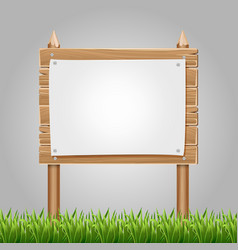Wooden information blank with green grass vector