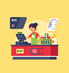 young smiling woman cashier at workplace in vector image