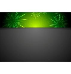 Black background with fireworks on header vector image