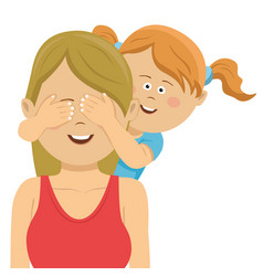 daughter covering mothers eyes with her hands vector image