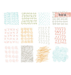 hand drawn hipster textures made with ink retro vector image
