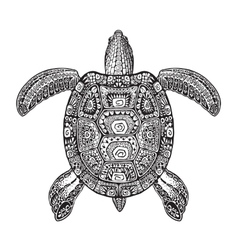 Terrapin turtle painted tribal ethnic ornament vector