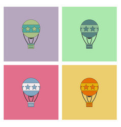 circus watercolor hot air balloon collection vector image vector image