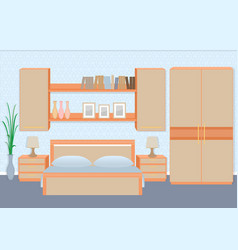 Graceful bedroom interior with furniture vector
