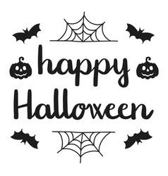 happy halloween handwritten greeting black on vector image vector image