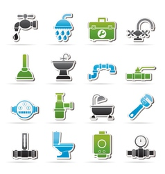 plumbing objects and tools equipment icons vector image vector image