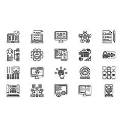 Web Development Line Icon Set vector image vector image