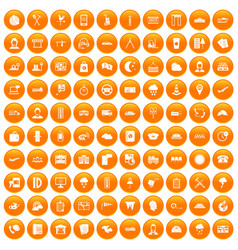 100 dispatcher icons set orange vector