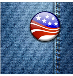 American USA Flag Badge On Jeans Denim vector image vector image