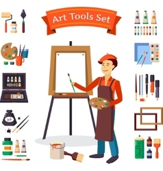 Artist And Art Tools Set vector image