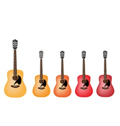 Beautiful Red and Orange Colors of Acoustic Guitar vector image vector image