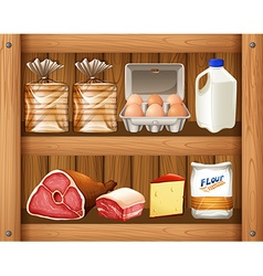 Different kinds of food on wooden shelf vector image vector image