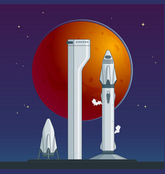 flat rocket and spaceship concept vector image vector image