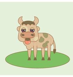 Flat small bull cute vector image vector image