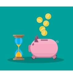 Old style hourglass clock and piggy bank vector