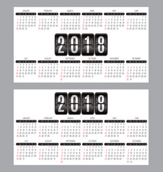 set of calendar grid for years 2018-2019 for vector image vector image