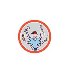 Tradesman Worker Six Hand Cartoon vector image vector image
