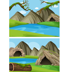 two background scenes with mountains and rivers vector image