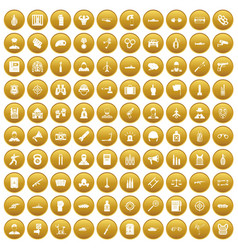 100 officer icons set gold vector