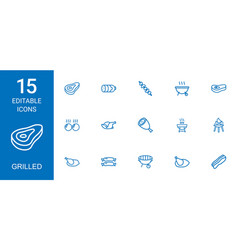 15 grilled icons vector