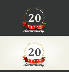 20 years happy anniversary banners vector image