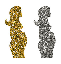 a set of icons of a pregnant girl vector image
