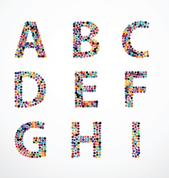 Alphabet Circle color point style set vector