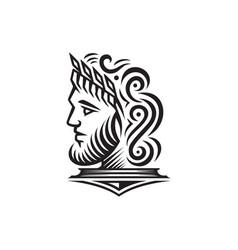 Ancient greek figure face head statue sculpture vector