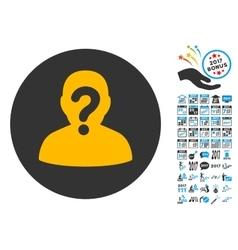 Anonymous icon with 2017 year bonus pictograms vector