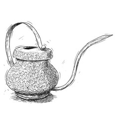artistic or drawing of antique brass watering jug vector image