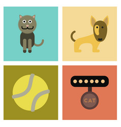 Assembly flat icons pets and accessories vector