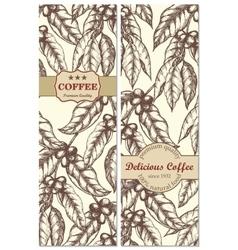 banner set vintage handdrawn coffee backgrounds vector image