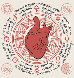 Banner with red human heart and old magic symbols vector