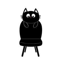 Black cat face silhouette holding chair baby vector