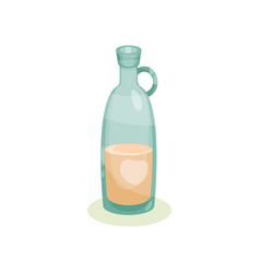 blue glass bottle with beige liquid flask with vector image